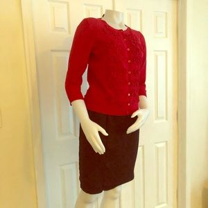 Chelsea & Theodore Red Cardigan L Floral